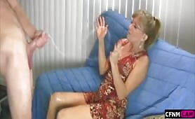 Blowing a load of cum on Mom