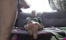 Cum on step sisters feet