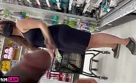 Flashing cock in the store
